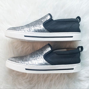 MARC BY MARC JACOBS Leather Glitter Slip-On Shoes